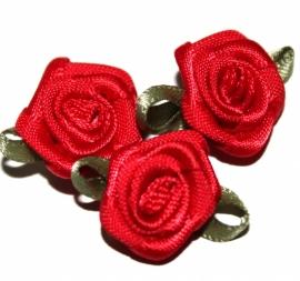 Super kwaliteit roosjes rood met blad 15mm