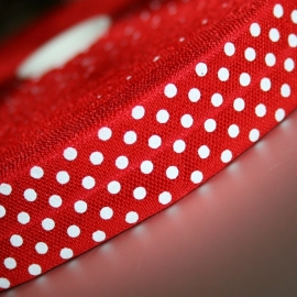 Rood Haarband elastiek / biasband polkadot 20mm breed