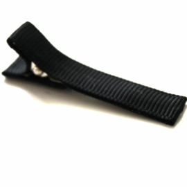 Alligator clip bekleed met zwart grosgrain lint