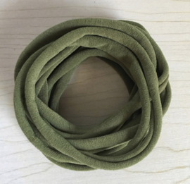 Super soft dunne nylon haarbandje army groen