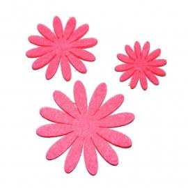 Vilten bloementje neon roze (kies maat)