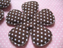 47mm polkadot bloem stof bruin