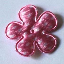 25mm bloem van satijn polkadot roze 10 stuks