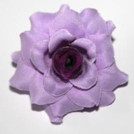 Stoffen roos met steel 4cm lila /paars