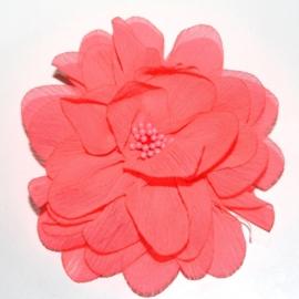 10cm chiffon bloem neon roze met kern