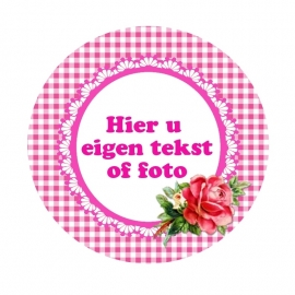 (FB226) foto tekstframe roze roosje
