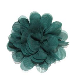6,5cm chiffon bloem  forrest green