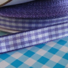 paars gingham ruit satijn band 10mm breed