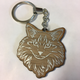Sleutelhanger hout maine coon
