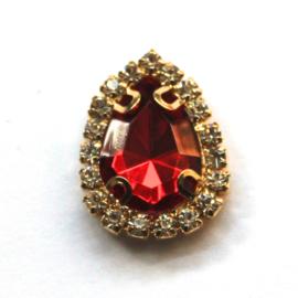 druppel strass steen goud rood
