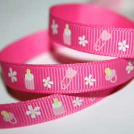 10mm fuchsia baby grosgrain geweven band 4m