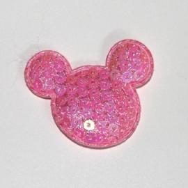Muis hoofdje paillet roze