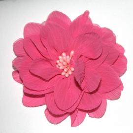 10cm chiffon bloem donkerroze met kern