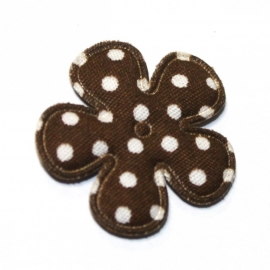 25mm polkadot bloem stof bruin