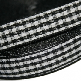 Zwart gingham ruitband 15mm breed