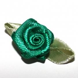 Roosje van satijn met blad groen