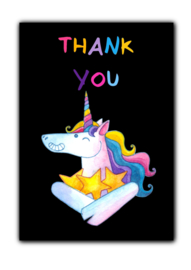 Ansichtkaart thank you unicorn