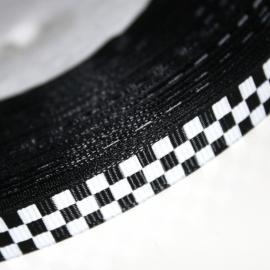Blokjes grosgrain lint zwart 10mm