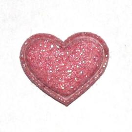 mini glitter hartje roze (17mm)