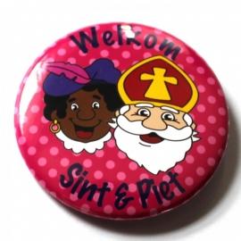 Sinterklaas button roze stip