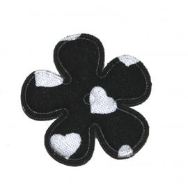 25mm bloem met hartjes print zwart