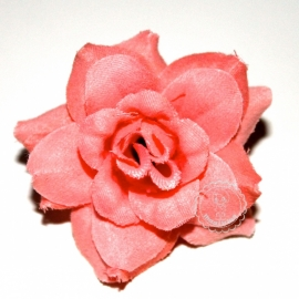 Stoffen roos op steel 4cm coral/perzik