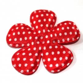 47mm polkadot bloem satijn rood