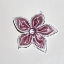 Grote dubbel kleurige satijn bloem met strass oudroze/wit