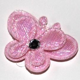 Vlinder dubbellaags klein roze p/s