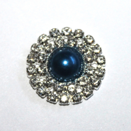 Strass flatback parel 20mm donkerblauw