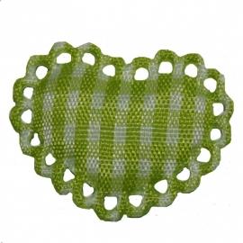 Lime / wit stoffen ruit hartje met kantje ~ 1 stuks