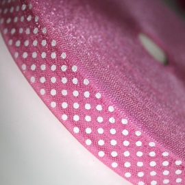 Haarband elastiek roze polkadot 18mm breed