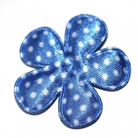 35mm bloem van satijn polkadot royal blauw