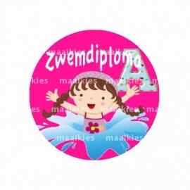 (FB509) zwemdiploma meisje A roze