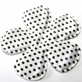 65mm polkadot satijn bloem wit