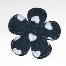 35mm bloem met hartjes print navy