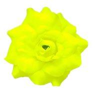 stoffen roos met steeltje 4cm neon geel
