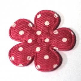 25mm polkadot bloem stof felroze