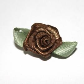 Super kwaliteit roosjes bruin met blad 15mm