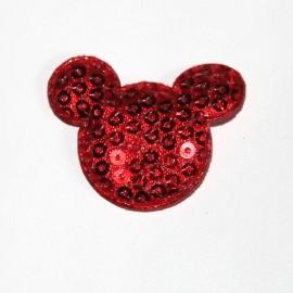 Muis hoofdje paillet rood