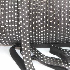 Haarband elastiek zilver polkadot zwart