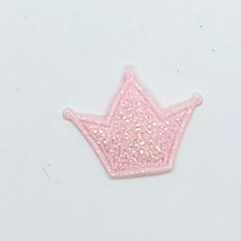 mini kroon glitter roze