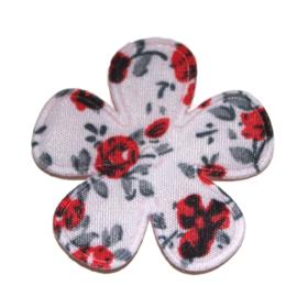 35mm bloem zachtroze, rood grijs gebloemd