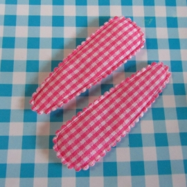 roze geruit stoffen haarspeld hoesje (5,0cm)