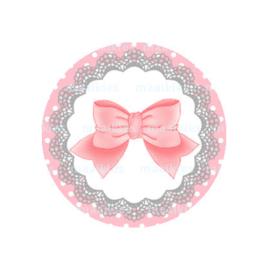 (FB557) strikje licht roze grijs