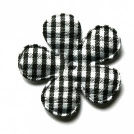35mm gingham ruit bloemen zwart
