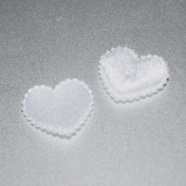 Fluwelen witte hartjes 1 stuks