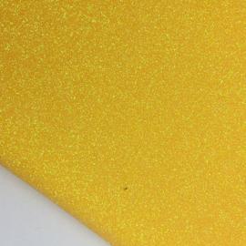 mooi lapje fijn glitter imitatie leer geel