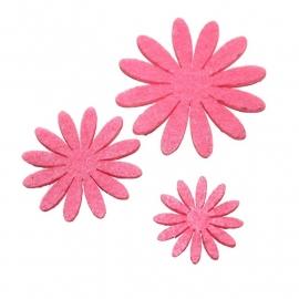 Vilten bloementje roze (kies maat)