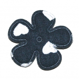 25mm bloem met hartjes print navy